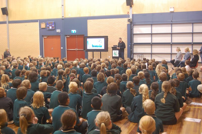 Don Elgin Talking at School Assembly