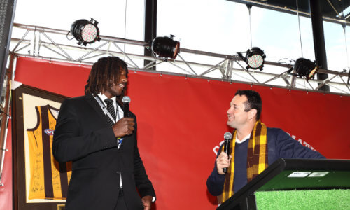 Don Elgin and Nic Naitanui at an AFL media function