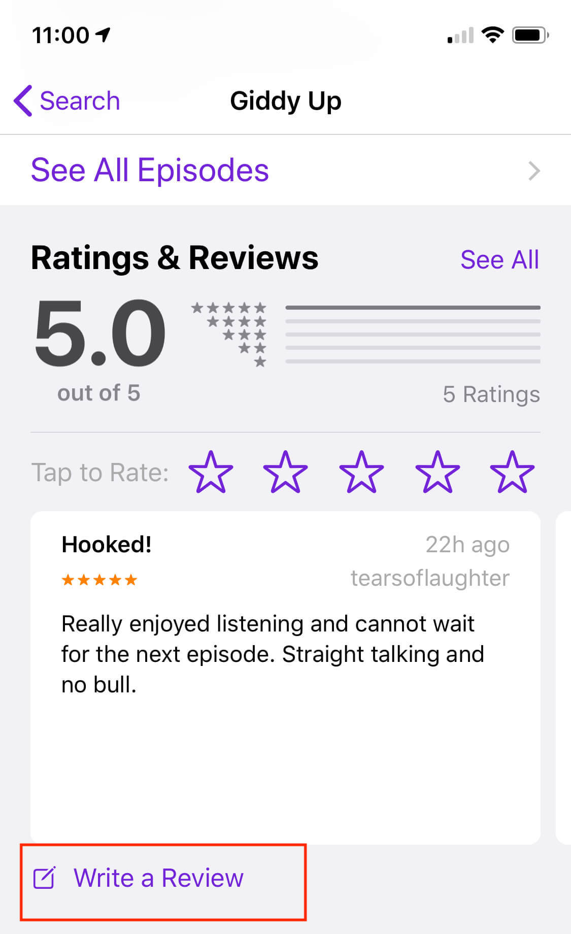 Step 7 of reviewing a podcast on iTunes