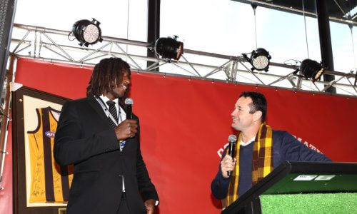 Don Elgin and Nic Naitanui at an AFL media function